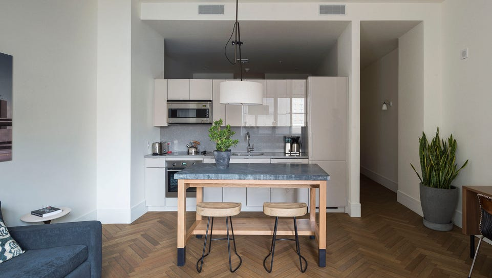 The kitchen in a ROOST Apartment Hotel room