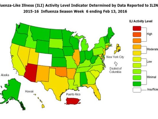 Arizona Fighting The Flu State Has Highest Rate Of The Illness In - Flu map us