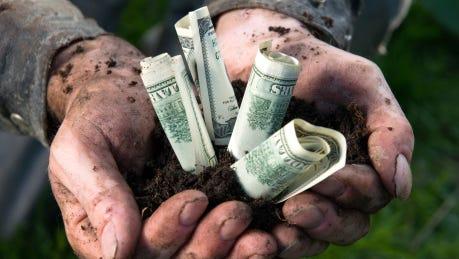 Farmer growing money