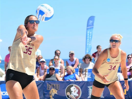Katie Horton (left) and playing partner Hailey Luke finished with a 38-5 record and were the USA Volleyball Collegiate Beach Championship runners-up.