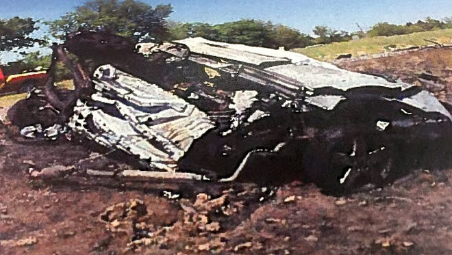The remains of the car driven by Doris Wise