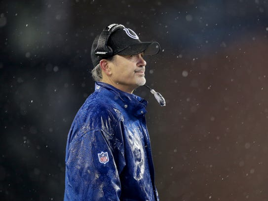 Indianapolis Colts  coach Chuck Pagano looks on during