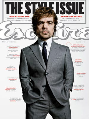 Peter Dinklage strikes a pose for the March issue of 'Esquire' mag.