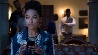 "Student activist Samantha White (Logan Browning) becomes the target of racist cyberbullies in the Season 2 premiere of ""Dear White People."""