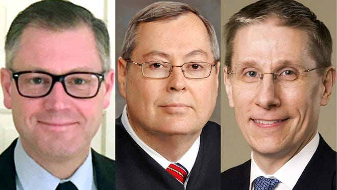 From left: Boone Superior Court Judge Matthew Kincaid, St. Joseph Superior Court Judge Steven Hostetler and Indianapolis attorney Geoffrey Slaughter are the nominees for the Indiana Supreme Court.