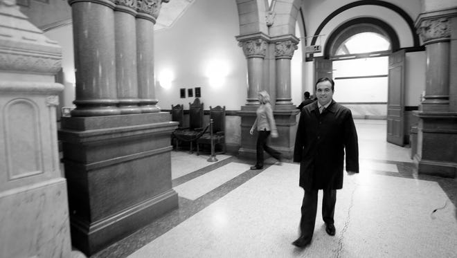 Mayor Cranley arrives at City Hall after dropping his son, Joseph, off at school.