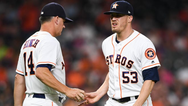 Astros reliever Ken Giles allowed three runs on three hits Tuesday against Oakland and was removed before he recorded an out.