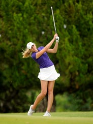 Wylie's Maddi Olson hits on to the 18th green during