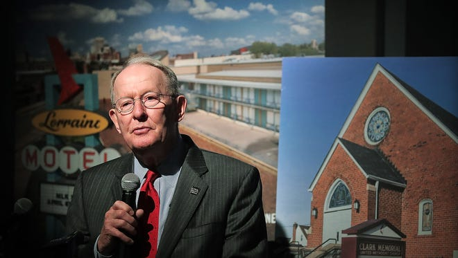 U.S. Sen. Lamar Alexander speaks during a ceremony at the National Civil Rights Museum to announce the 10 Tennessee historic sites on the new, multi-state U.S. Civil Rights Trail.