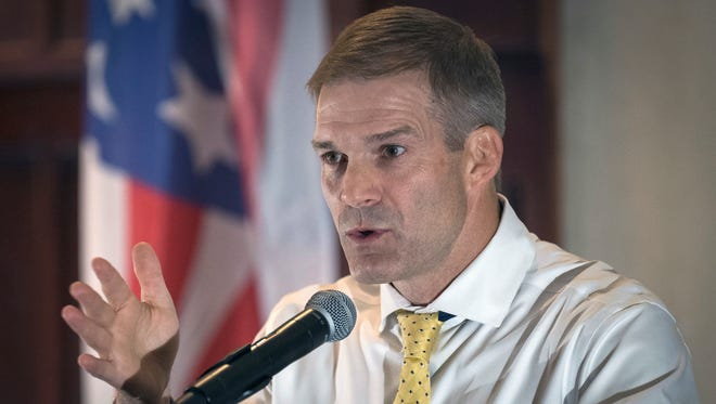 Rep. Jim Jordan, R-Ohio, speaks to supporters in Hebron, Ky., on Aug 11, 2017.