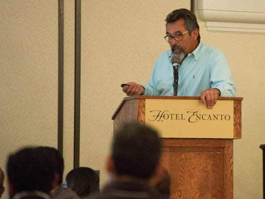 Matt Romero, of Romero Farms, gives a presentation on pest and disease management in organic chile at the 2018 New Mexico Chile Conference, Tuesday February 6, 2018.