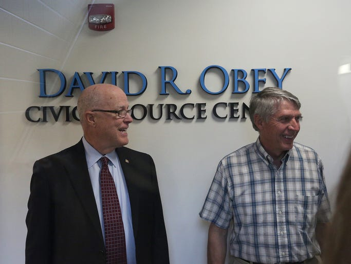 Democrats and Republicans alike came out to honor Dave Obey and to participate in the grand opening celebration of the David R. Obey Civic Resource Center at UW-Marathon County, Wednesday, September 3, 2014, in Wausau.