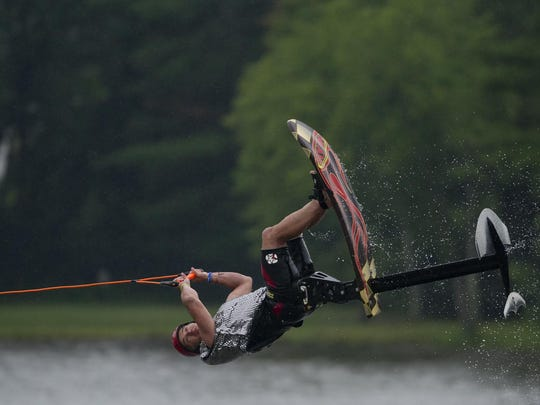 Bob Coley of during the Wisconsin Rapids Aqua Skiers Show Ski Team performance at the 49th annual Wisconsin State Water Ski Show at Lake Wazeecha in Grand Rapids on Thursday, July 16, 2015.