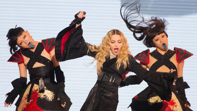 Madonna performs during her Rebel Heart Tour at Gila River Arena in Glendale on October 22, 2015.