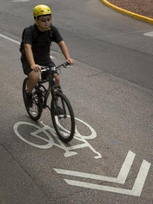 Phoenix's first designated bicycle boulevard travels nearly five miles between 5th Avenue and Fillmore Street.