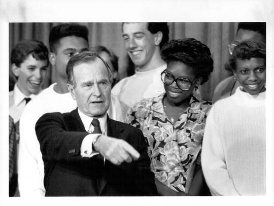President George H.W. Bush addressed students at Wilson Magnet High School on May 18, 1989.