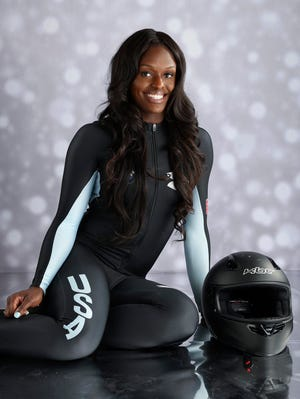 U.S. Olympic bobsled hopeful Aja Evans poses during a portrait session at the Team USA Media Summit in preparation for the 2014 Sochi Olympic Games at the Grand Summit Hotel in Park City, Utah.