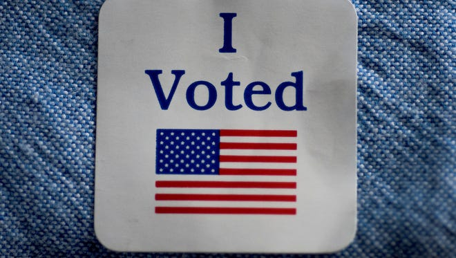 An I Voted sticker on Super Tuesday, March 1, 2016 in Montgomery, Ala.