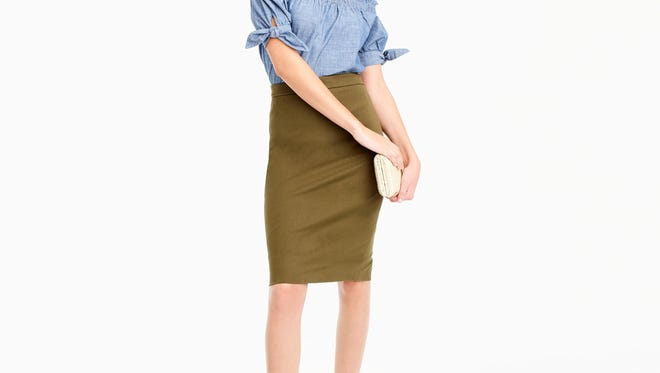 J.Crew has nice selection for young professionals, but stay clear of the off-the-shoulder and cold-shoulder shirts for the office. Save those for after hours. (J.Crew)