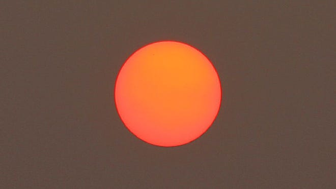 This photo of a red sun was taken in 2015 in Iowa