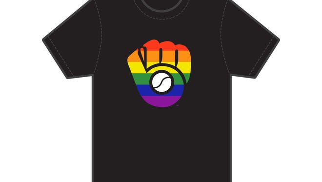 This is a mock-up of a T-shirt for the Milwaukee Brewers new LGBT Pride Night special event, scheduled for June 21 at Miller Park.