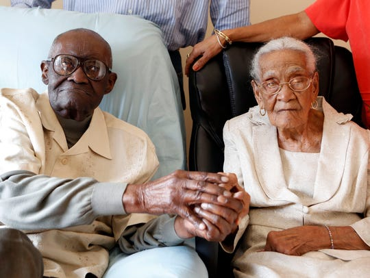 Spring Valley resident Duranord Veillard celebrated his 108th birthday in February 2015. His wife, Jeanne, turned 105 that May. The couple got married in Haiti in 1932. Duranord and Jeanne Veillard are photographed Feb. 26, 2015 in Spring Valley.