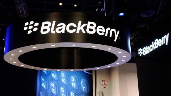 The Blackberry booth at the 2012 International Consumer Electronics Show at the Las Vegas Convention Center.