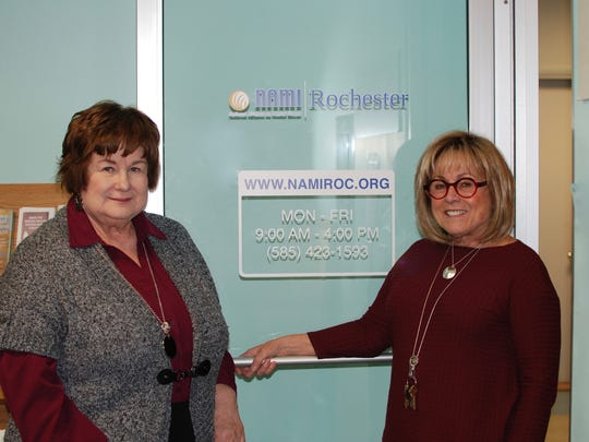 Patricia Sine and Donna Leigh-Estes of the National Alliance for Mental Illness (NAMI) Rochester.