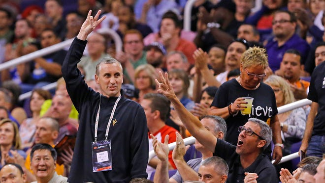 Arizona State men's basketball coach Bobby Hurley is introduced at a Phoenix Suns game on Tuesday, April 14, 2015, in Phoenix.