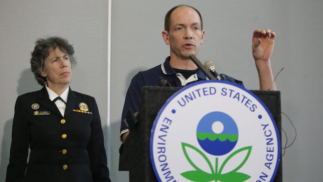 Mark Durno, On-Scene Coordinator, Environmental Protection Agency, speaks about the EPA's new sampling results from filters in Flint residences during a press conference on Thursday, Feb. 4, 2016, at the Environmental Protection Agency's Command Post in Flint.