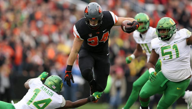 OSU tailback Ryan Nall rushed for 155 yards and four touchdowns in last year's Civil War, won by the Beavers 34-24 at Reser Stadium.