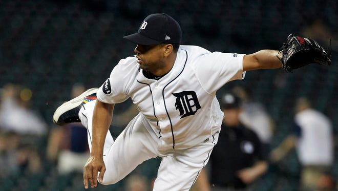 May 16, 2017; Detroit, MI, USA; Tigers reliever Francisco Rodriguez pitches in the 13th inning against the Orioles at Comerica Park.