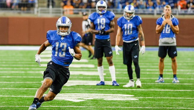 Lions receiver TJ Jones runs a route during practice at Ford Field, Saturday, August 5, 2017 in Detroit.