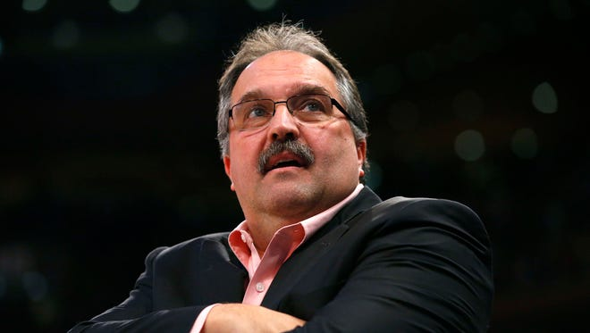 Pistons coach Stan Van Gundy during the first half against the Knicks on Saturday, March 31, 2018, in New York.