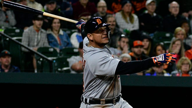 Detroit Tigers first baseman Miguel Cabrera hits a three-run home run during the second inning against the Baltimore Orioles at Camden Yards on April 28, 2018.