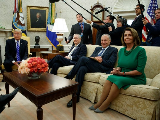 President Donald Trump meets with, from left, Senate