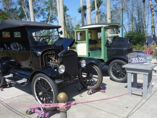 Antique cars are on exhibit at the Edison & Ford Winter