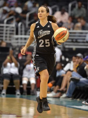 Aug 23, 2012; Los Angeles, CA, USA; San Antonio Silver Stars guard Becky Hammon (20) dribbles the ball against the Los Angeles Sparks at the Staples Center. The Sparks defeated the Silver Stars 101-77. Mandatory Credit: Kirby Lee/Image of Sport-USA TODAY Sports