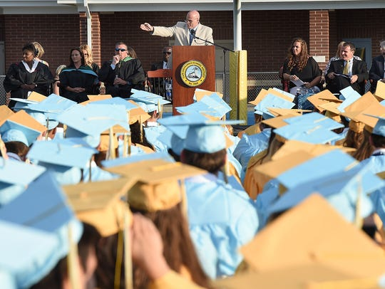 Principal Brian Donahue speaks to the Cape Henlopen