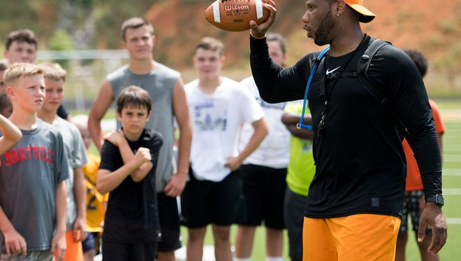 Former Tennessee Vol Gerald Riggs Jr. gives out instructions at the Legends of Tennessee 2018 Football camp held at Northview Academy in Kodak, Tenn., on Thursday, June 14, 2018.