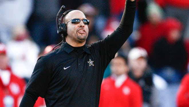 Vanderbilt football coach James Franklin, shown here during the 2014 Compass Bowl in Birmingham, Ala., is reportedly Penn State's choice to become its new football coach, replacing Bill O'Brien, who left to coach the NFL's Houston Texans.