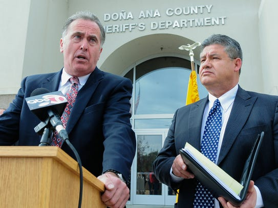 Third Judicial District Attorney Mark D'Antonio, left,