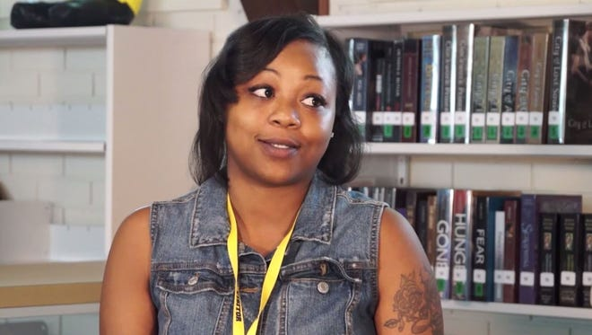 Letitia Bowman, an IRS employee who has a criminal record, spoke to DePaul Cristo Rey High School students in for a 10-minute documentary on the criminal justice system.