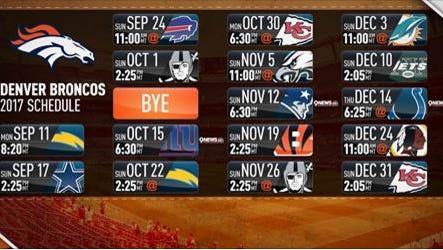 The Denver Broncos 2017 schedule.
