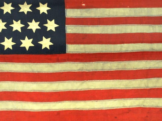 United States Flag, c. 1777-1795, Gift of Mr. and Mrs. Edward S. Wyclooff.