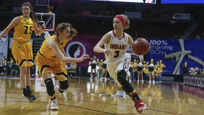 Pocahontas Area senior Faith Meyer drives the ball in against Clear Lake on Tuesday, Feb. 28, 2017, at Wells Fargo Arena in Des Moines.