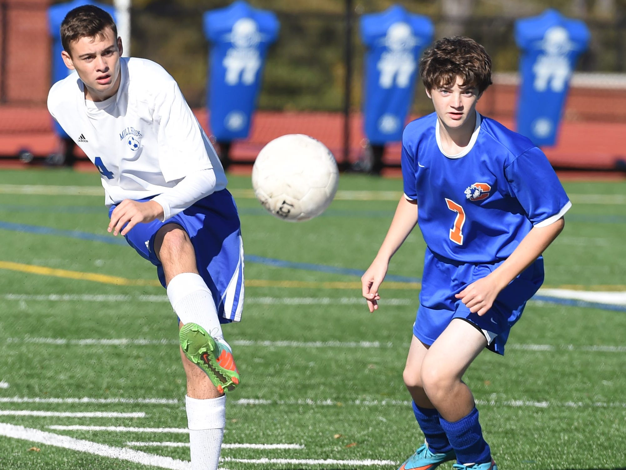 Action from the Section 9 Class C semifinal between Chester and Millbrook on Monday.