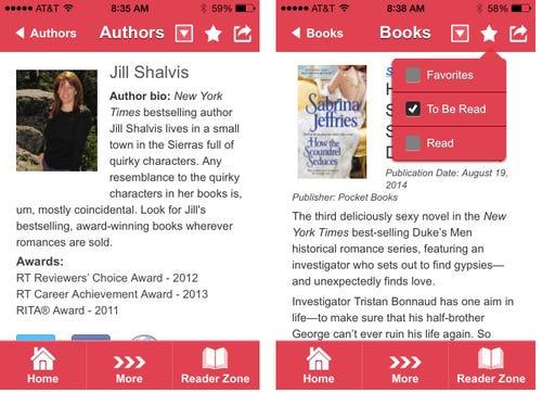 Screenshots of RWA's new app, Novel Engagement. (Photo: RWA)