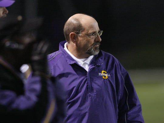 Salinas High coach Steve Goodbody roams the sidelines