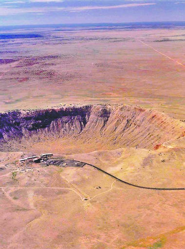 An aerial view of Meteor Crater in northern Arizona, created by the impact of a meteorite 50,000 years ago.